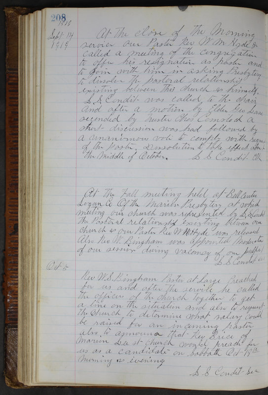 Sessional Records of the 1st Presbyterian Church of Trenton Delaware County Ohio 1873-1937 (p. 196)