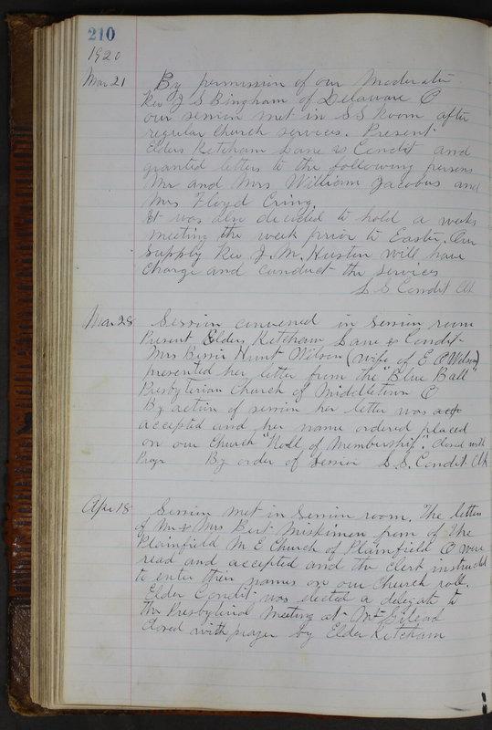 Sessional Records of the 1st Presbyterian Church of Trenton Delaware County Ohio 1873-1937 (p. 198)