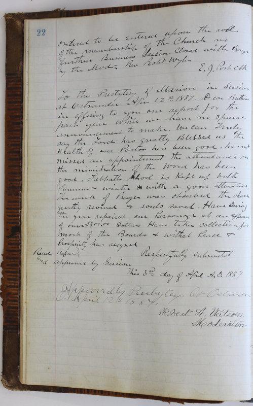 Sessional Records of the 1st Presbyterian Church of Trenton Delaware County Ohio 1873-1937 (p. 26)