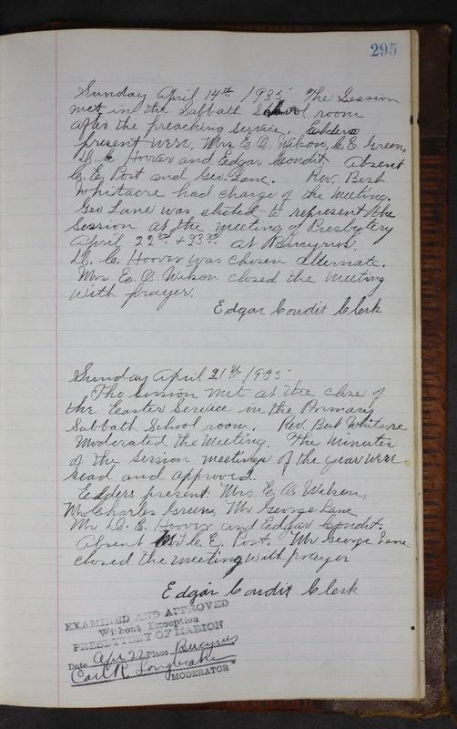 Sessional Records of the 1st Presbyterian Church of Trenton Delaware County Ohio 1873-1937 (p. 282)