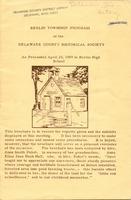 Berlin Township Program of the Delaware County Historical Society (p. 1)